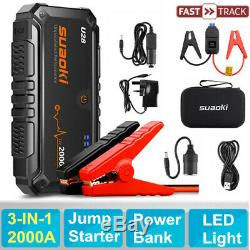 Suaoki Heavy Duty 2000A Car Jump Starter Battery Charger Booster Rescue Pack UK