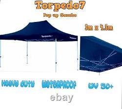 TORPEDO HEAVY DUTY POP UP GAZEBO TENT 3m x 4.5m COMMERCIAL GRADE INCLUDES SIDES