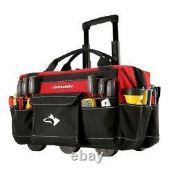 Tool Bag With Wheels Box Portable Rolling Tote Mechanics Sheetrock Heavy Duty 18