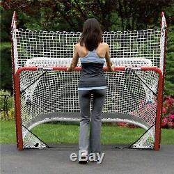 Training Hockey BackStop Heavy Duty Steel Frame Folds Portable Goal Net Rebound