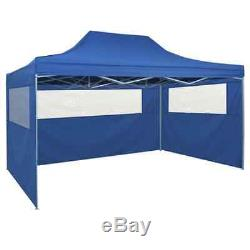 VidaXL Foldable Tent Pop-Up 3x4.5m Marquee Blue/Cream with 4 Walls/No wall