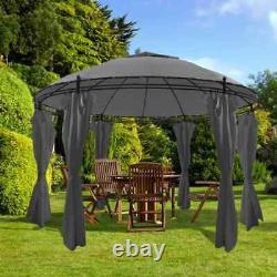 VidaXL Gazebo with Curtains Round 3.5x2.7m Anthracite Garden Canopy Marquee