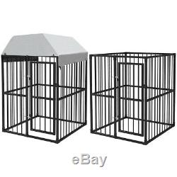 VidaXL Heavy-Duty Outdoor Dog Kennel 120x120cm Cage with Roof/without Roof