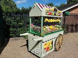 Wooden Handcart Victorian Style Hand Painted Market Stall Display Cart Casters